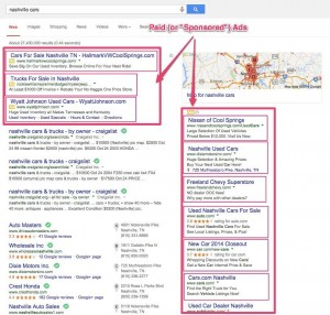 Example of search ads appearing on SERP