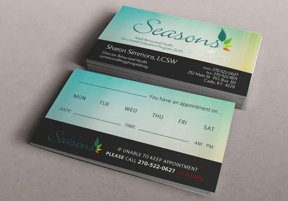 Appt Reminder Cards for Seasons Behavioral Health SOP