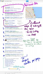 A complete breakdown of a page's search listings (no YouTube videos in this example)