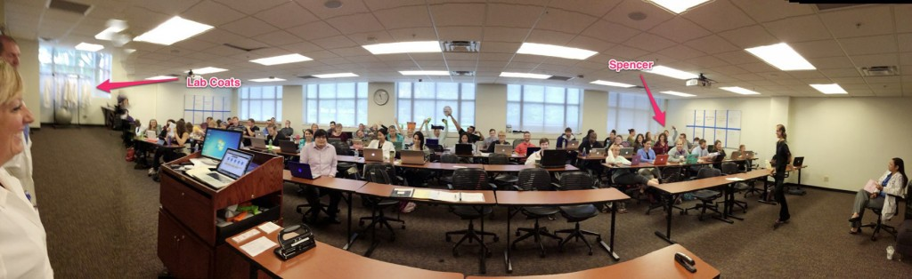 Wide shot of 70 pharmacy students at Lipscomb