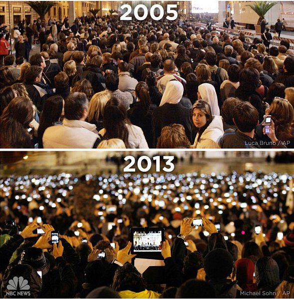 The Vatican in 2005 and 2013, with a ton of phones in the crowd